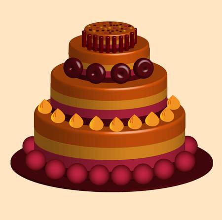 illustration vectorielle d & # 39; un délicieux gâteau multicouche