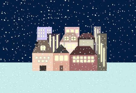 night snowfall on a small town Illustration