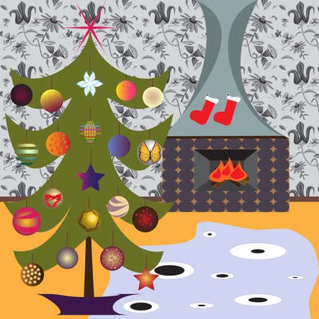 wonderful and original home interior decorated for Christmas Ilustração