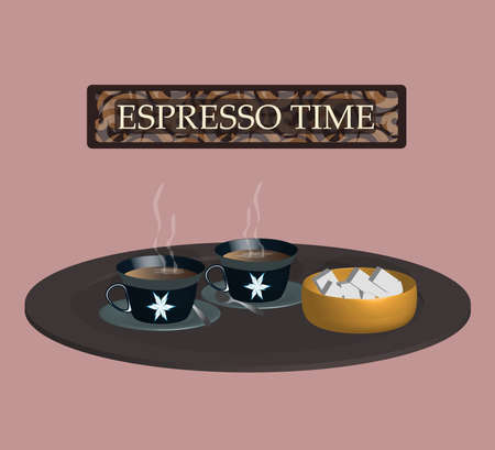 illustration with espresso coffee cups. very Italian image 向量圖像