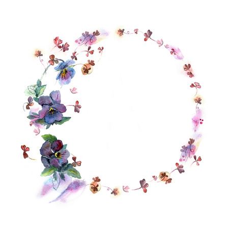pansies: Cute watercolor circular flower frame. Background with watercolor blue pansies. Invitation. Wedding card. Birthday card. Stock Photo