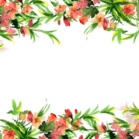 Mignon frontière aquarelle fleur. Arrière-plan avec l'aquarelle fleur d'amande. Invitation. Faire-part de mariage. Carte d'anniversaire. Banque d'images - 65195169
