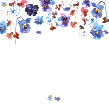 pansies: Cute watercolor flower background with blue pansies. Invitation. Wedding card. Birthday card.