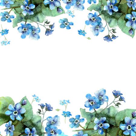 Bordo fiore del fiore dell'acquerello sveglio. Sfondo con acquarello blu non mi dimentico. Invito. Scheda matrimonio. Biglietto d'auguri.