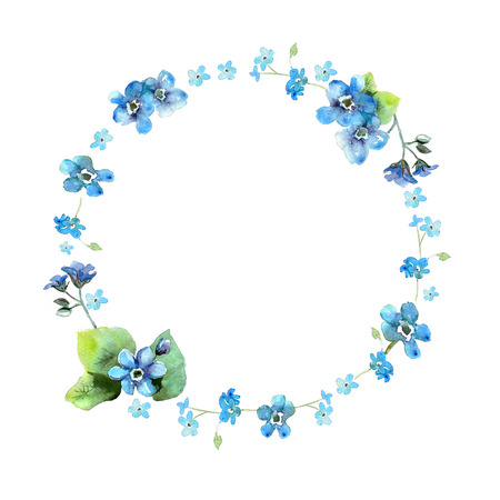Cute watercolor circular flower frame. Background with watercolor forget me nots. Invitation. Wedding card. Birthday card. Foto de archivo