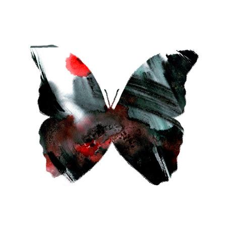 Silueta de una mariposa con acuarela de fondo abstracto de colores Foto de archivo