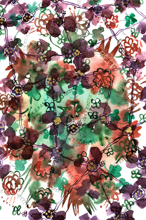 violet red: Hand drawn watercolor background with violet, red and green abstract flowers Stock Photo