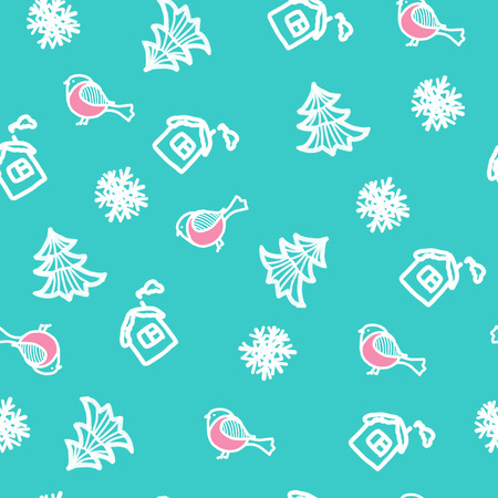 Seamless hand drawn pattern with snowflakes and bullfinches. New Years background