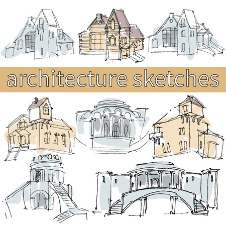 Hand drawn architecture sketches with houses, bridge, columns