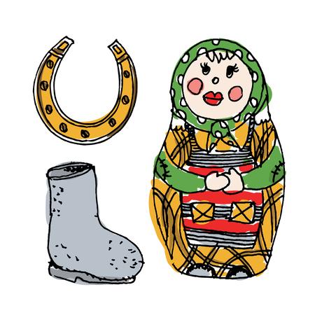 matreshka: Illustration with traditional  Russian symbols: nested doll,  valenok and horseshoe