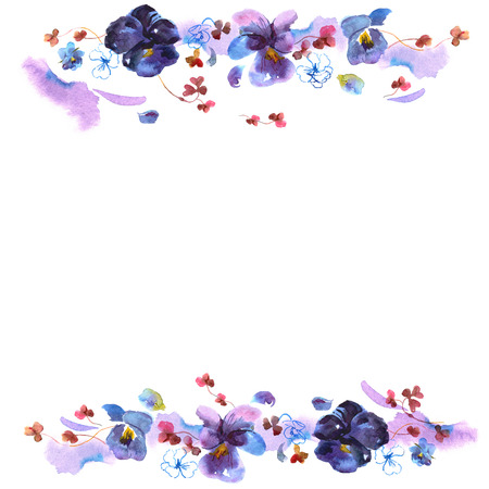 pansies: Cute watercolor flower frame. Background with pansies. Invitation. Wedding card. Birthday card.