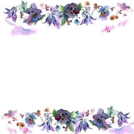 pansies: Cute watercolor flower frame.  Background with watercolor  bells and pansies. Invitation.  Wedding card. Birthday card.