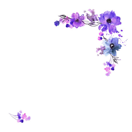 Cornice floreale dipinta a mano dell'acquerello sveglio. Invito. Scheda matrimonio. Biglietto d'auguri. Archivio Fotografico - 69694510