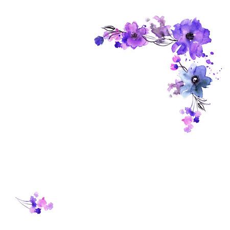 Cute watercolor hand painted flower frame. Invitation. Wedding card. Birthday card. Foto de archivo