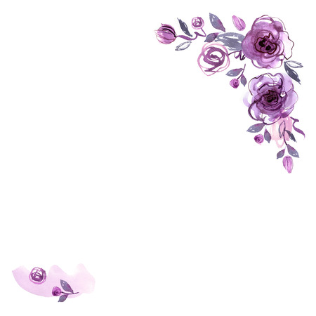 Cute watercolor hand painted flower frame. Background with dark purple roses. Invitation. Wedding card. Birthday card.