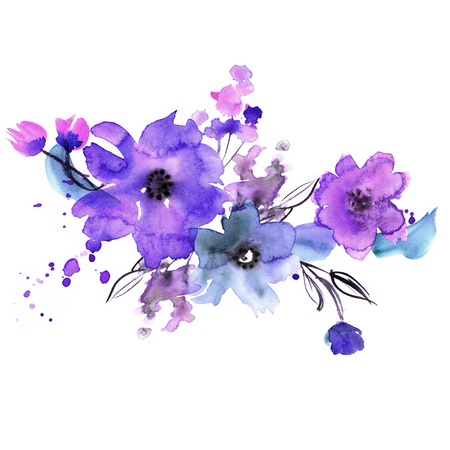 plant design: Cute watercolor hand painted flowers. Invitation. Wedding card. Birthday card.