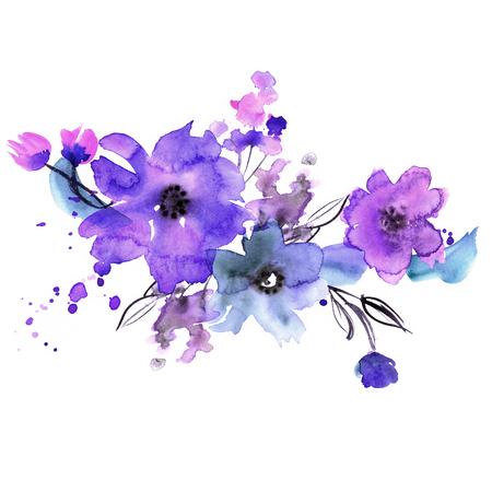 azul: flores pintadas a mano lindo de la acuarela. Invitación. Tarjeta de boda. Tarjeta de cumpleaños. Foto de archivo