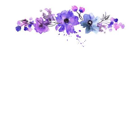 かわいい水彩手描きのフラワー フレーム。招待状。結婚式のカード。誕生日カード。