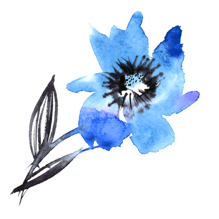 Watercolor hand painted abstract spring flower on a white background