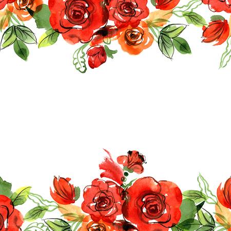 Cute watercolor flower frame. Roses. Invitation, wedding card, birthday card.