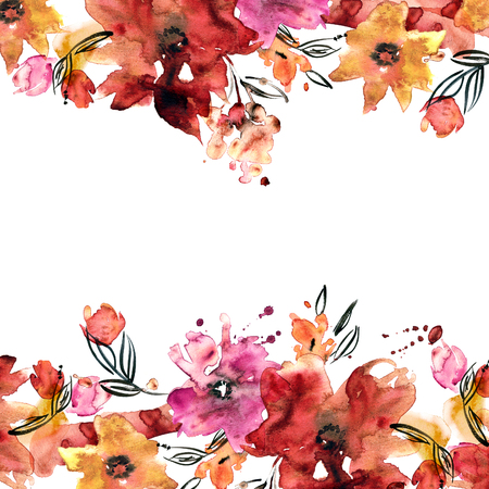 Cute Watercolor Flower Frame Hand Painted Floral Background Stock