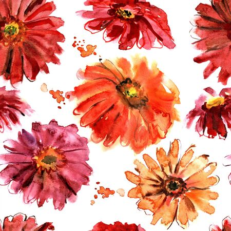 Hand painted watercolor seamless floral pattern. Background with gerberas
