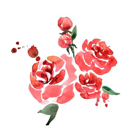 Leuke waterverf handgeschilderde rode rozen. Uitnodiging. Trouwkaart. Verjaardagskaart
