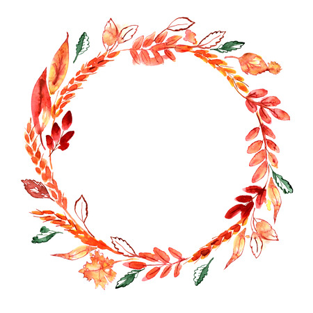 Watercolor hand painted autumn wreath with ears and orange leaves. Thanksgiving decoration