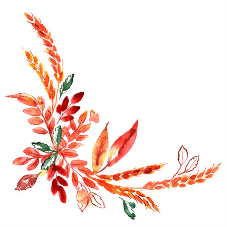 Watercolor hand painted corner with ears and autumn orange leaves. Thanksgiving decoration