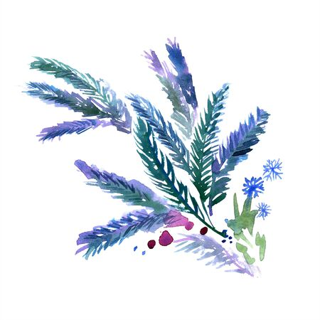Watercolor hand painted fir-tree branches in blue colors