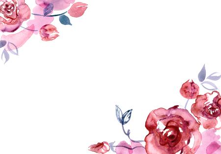 Cute watercolor flower background . Invitation. Wedding card. Birthday card Banco de Imagens