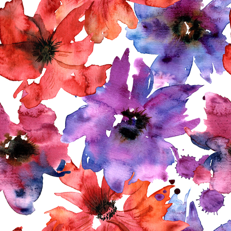 Hand painted watercolor seamless floral pattern with purple flowers