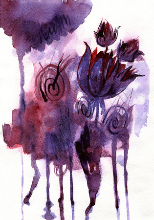Watercolor hand painted abstract background with purple flowers
