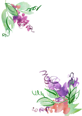 Watercolor hand painted background with abstract purple flowers. Elements for design Banco de Imagens