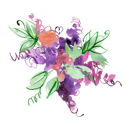 hand painted abstract purple flowers. Elements for design