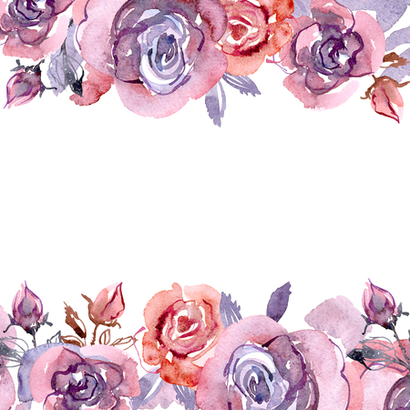 Cute watercolor flower frame. Hand painted floral background with pink and purple roses. Invitation. Wedding card. Birthday card Banco de Imagens