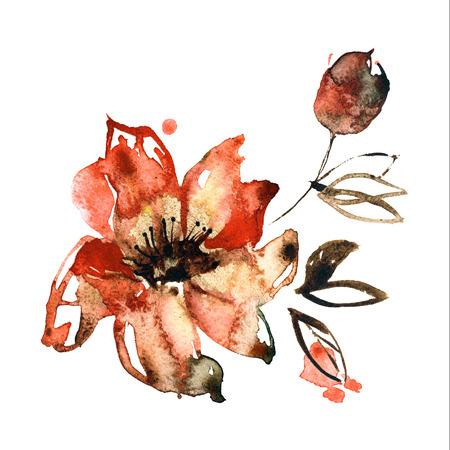 Cute watercolor hand painted orange flowers. Invitation. Wedding card. Birthday card