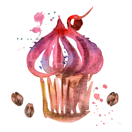 watercolor hand painted illustration with desert isolated on white. Cupcake with cream, cherry and coffee