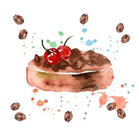 watercolor hand painted illustration with desert isolated on white. Ccake with cherry and coffee