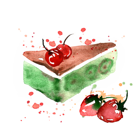 watercolor hand painted illustration with desert isolated on white. Cake with strawberry and cherry Banco de Imagens
