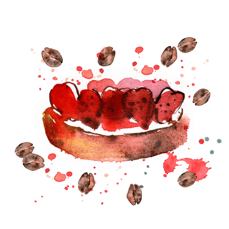 watercolor hand painted illustration with desert isolated on white. Cake with strawberry and coffee Banco de Imagens