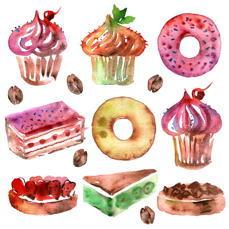watercolor hand painted illustration with set of desert isolated on white. Cupcakes, donuts and coffee