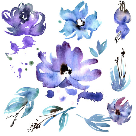 Cute watercolor hand painted purple flower elements for invitation, wedding card, birthday card