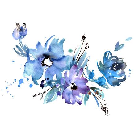 Cute watercolor hand painted purple flowers. Invitation. Wedding card. Birthday card