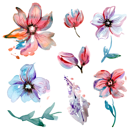 Cute watercolor hand painted flower elements for invitation, wedding card, birthday card