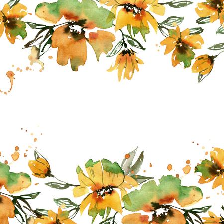 hand painted yellow flowers. Invitation. Wedding card. Birthday card