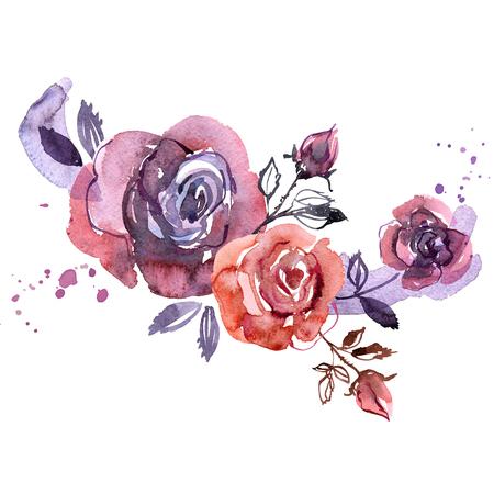 hand painted purple roses. Invitation. Wedding card. Birthday card