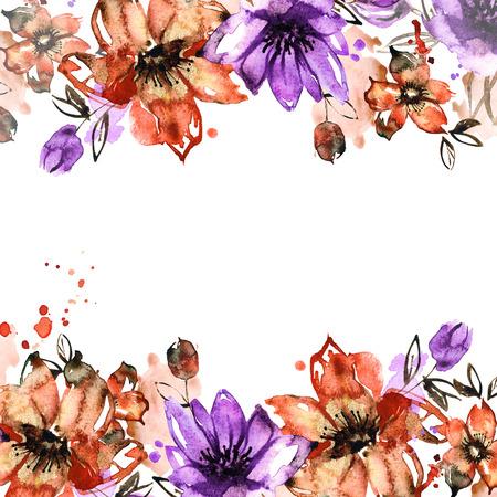 flower frame. Hand painted floral background . Banco de Imagens