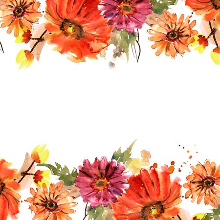 hand painted flowers. Invitation. Wedding card. Birthday card