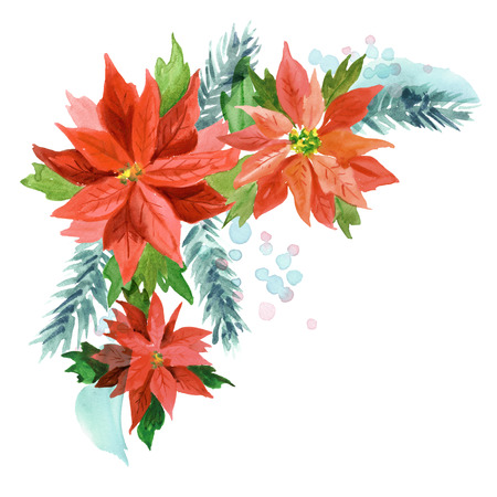 Watercolor hand painted Christmas background with poinsettia flowers